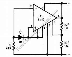 current loop light level detector circuit lm1036n With direct coupled discrete astable multivibrator circuit diagram