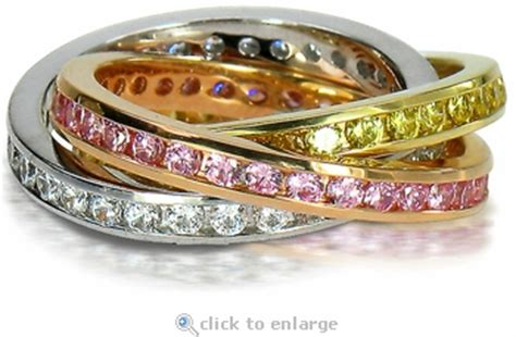 tri color channel cubic zirconia rolling ring trinity ring russian wedding ring