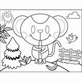 Oboe Mouse Playing Coloring Printable sketch template
