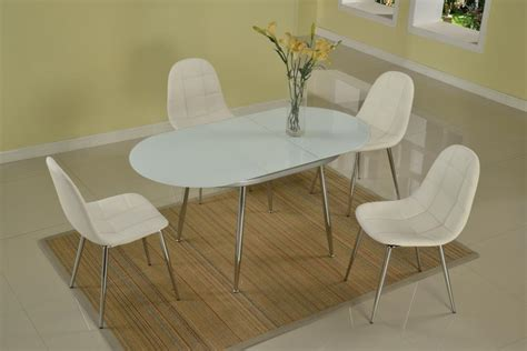 modern table l set extendable oval frosted glass top modern dinner table set