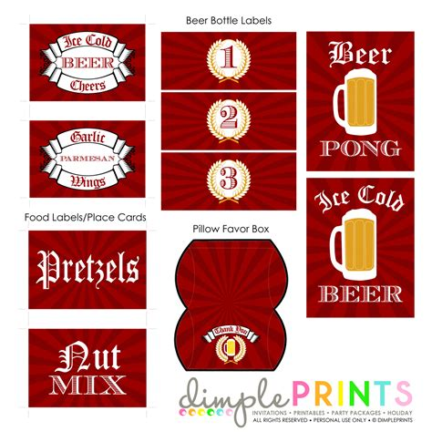 beer bash deluxe printable party package dimple prints shop