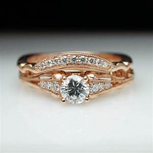 Vintage Antique Style Diamond Engagement Ring & Matching ...