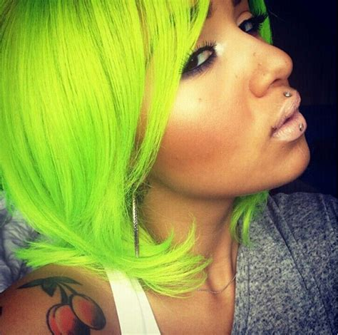 67 Best Neon Green Hair Images On Pinterest Colourful