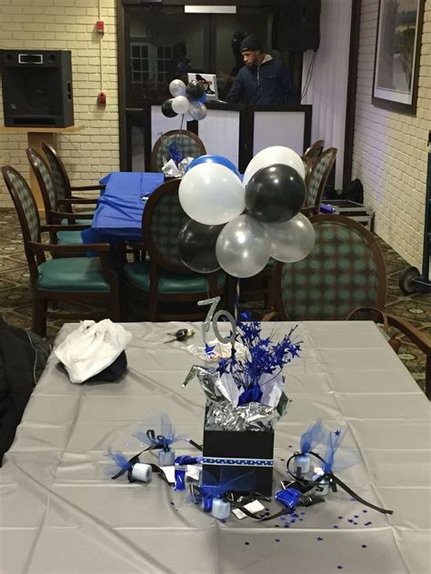 birthday centerpieces blue black white  silver