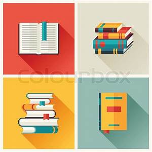 Set Of Book Icons In Flat Design