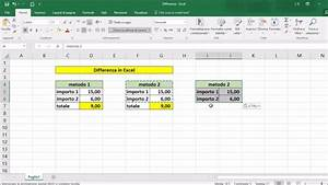 Differenza In Excel
