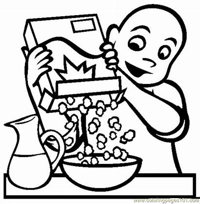 Breakfast Coloring Cereal Pages Eating Clipart Sheets