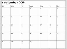 August 2054 Blank Calendar Pages