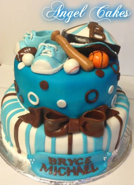 Sports Themed Baby Shower Cake  Baby Cakes By Angel Cakes