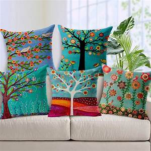 new ikea 7 styles pastoral flowers trees bird cushion With cheap pillow covers online