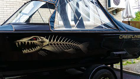 Boat Name Graphics Canada by Custom Sized Bone Fish Graphics