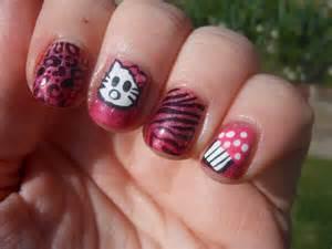 Nail art designs of hello kitty paint design