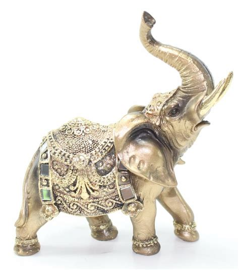 elephant home decor feng shui 7 quot gold elephant trunk statue wealth lucky