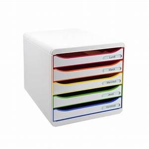 Rangement Papier Bureau : rangement de bureau 5 tiroirs blanc ~ Farleysfitness.com Idées de Décoration