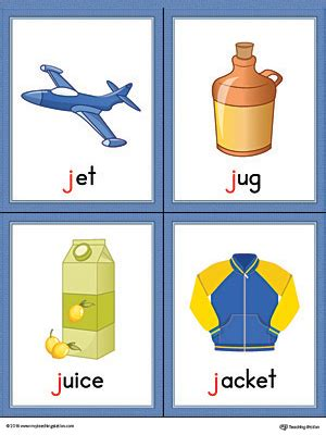 words with letter j letter j words and pictures printable cards jet jug