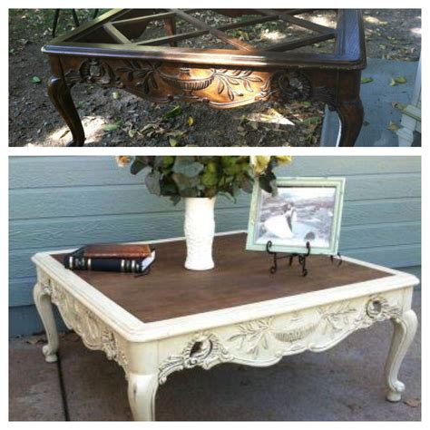 I only painted the base with annie sloan chalk paint to give this table a fresh new look ~ our southern home. French provincial Coffee table painted refinished white and sealed/ glazed with provincia ...