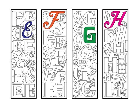 monogram alphabet letter bookmarks  zentangle coloring page scribble stitch