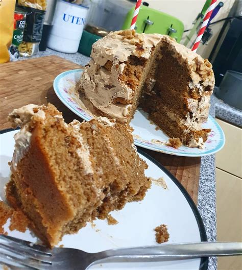I actually made this cake last year for jason's birthday, but have done a little tweaking with the recipe to take it up a notch or two since then! I made my wife a vegan coffee and walnut cake for her birthday. It came out all wonky and messy ...