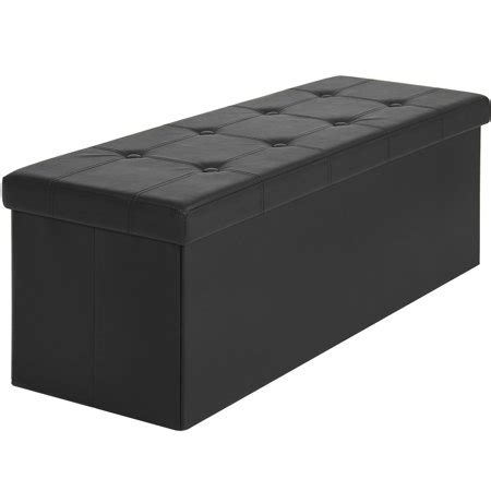 Padded Ottoman Storage Bench by Best Choice Products Faux Leather Space Saving Folding
