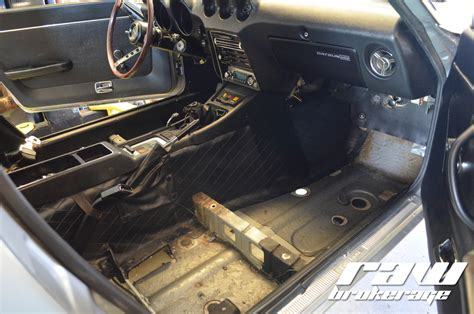 240z Floor Pan Plugs s 240z removing interior for chassis mods