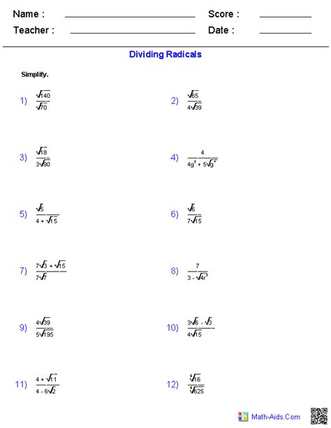 dividing radical expressions worksheets expanding