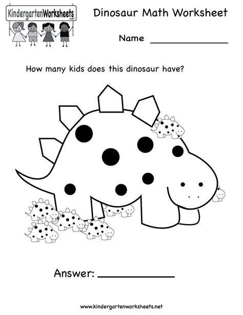 dinosaur math worksheet free kindergarten learning