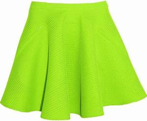 Chalayan Neon Mesh Skater Skirt in Green Lime green