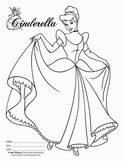 Cinderella Coloring Pages Princess Printable Everfreecoloring