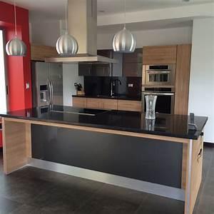 Mueble, Moderno, De, Cocina, Tonos, Gris, Y, Madera
