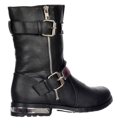 biker ankle boots shoekandi biker ankle boot chrome metal heel and trim