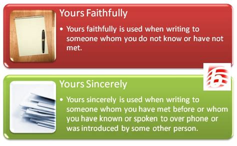 difference   sincerely   faithfully