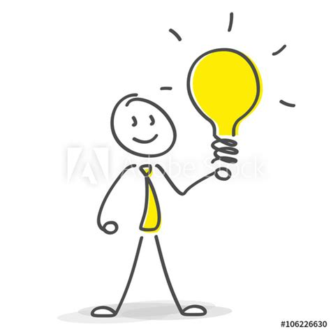 le mit mehreren glühbirnen strichm 228 nnchen mit leuchtender gl 252 hbirne idee einfall kaufen sie diese vektorgrafik und finden