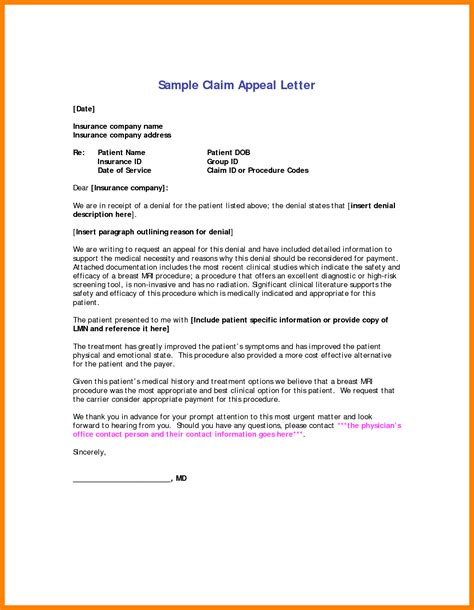 Unemployed Resume Sle by Insurance Appeal Letter Sle Insurance Appeal Letter