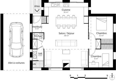 plan de maison 2 chambres plan maison 80 m avec 2 chambres ooreka