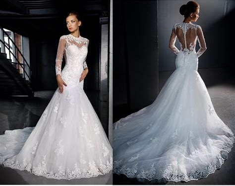 Long Sleeves Lace Wedding Dresses 2016 Mermaid Sexy