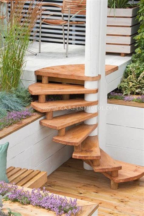 wooden outdoor spiral stair