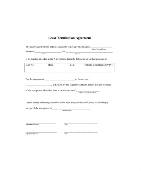 lease termination template   word  documents