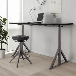 Id U00c5sen Black  Dark Grey  Desk Sit  Stand  160x80 Cm