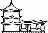 Vihara Mewarnai Gambar Coloring Temple Disimpan Dari sketch template