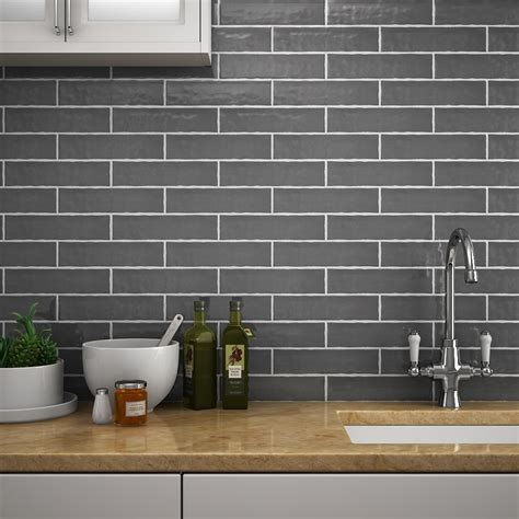 mileto brick grey gloss ceramic wall tile   mm