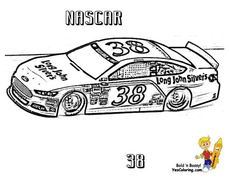 Nascar #38 Super Fast Car Coloring To Print At Yescoloring