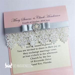 creative handmade elegant pocket fold wedding invitations With elegant wedding invitations with rhinestones and lace