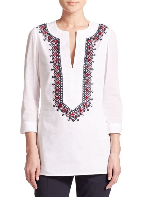 embroidery tunic lyst burch embroidered cotton tunic in white