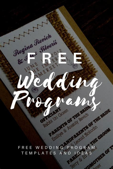 wedding program templates printable wedding