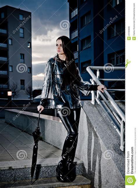 woman  leather  raincoat stock image image