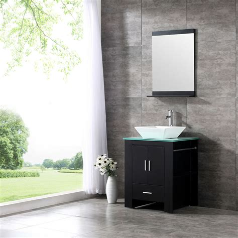 wood bathroom sink vanity cabinet ceramic bowl modern