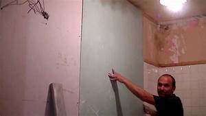 Doubler Un Mur En Placo Sur Rail : comment poser du placo coll au mur youtube ~ Dode.kayakingforconservation.com Idées de Décoration