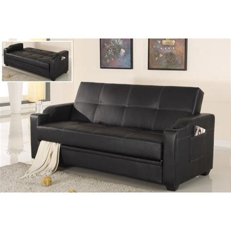 black leather sofa bed with cup holder black leather futon with cup holders