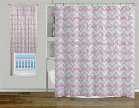 Gray Modern Chevron Shower Curtain, Designer Pink Fabric