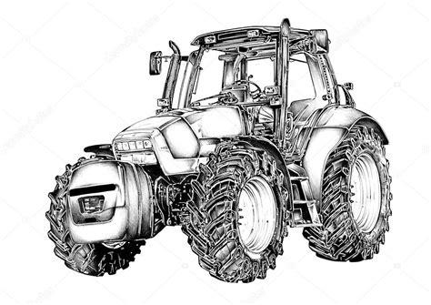 Kleurplaat Machines Landbouw by Landbouw Trekker Illustratie Tekening Stockfoto